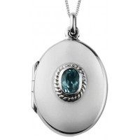 Sterling Silver Blue Topaz Locket Necklace