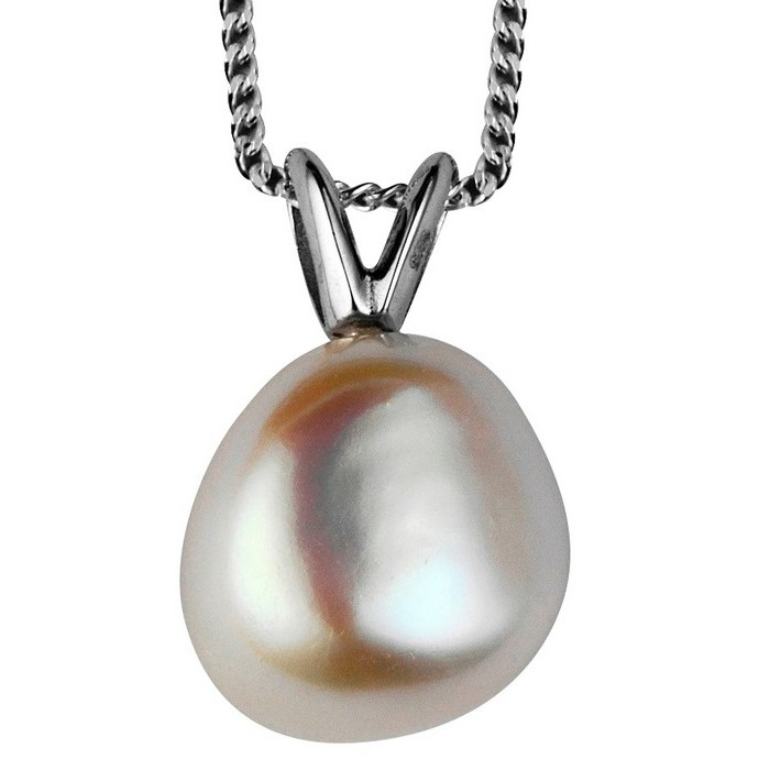 Sterling Silver Fresh Water Pearl Drop Pendant With 16 Inch Chain