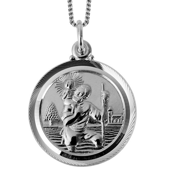 Sterling Silver St Christopher Pendant With 16 Inch Chain