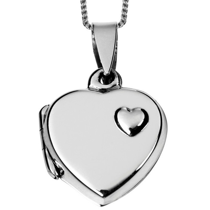 Sterling Silver Heart Locket With 16 Inch Chain