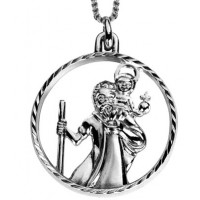 Sterling Silver Cut Out St.Christopher Pendant