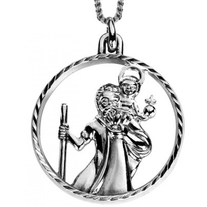 Sterling Silver Cut Out St.Christopher Pendant With 16 Inch Chain
