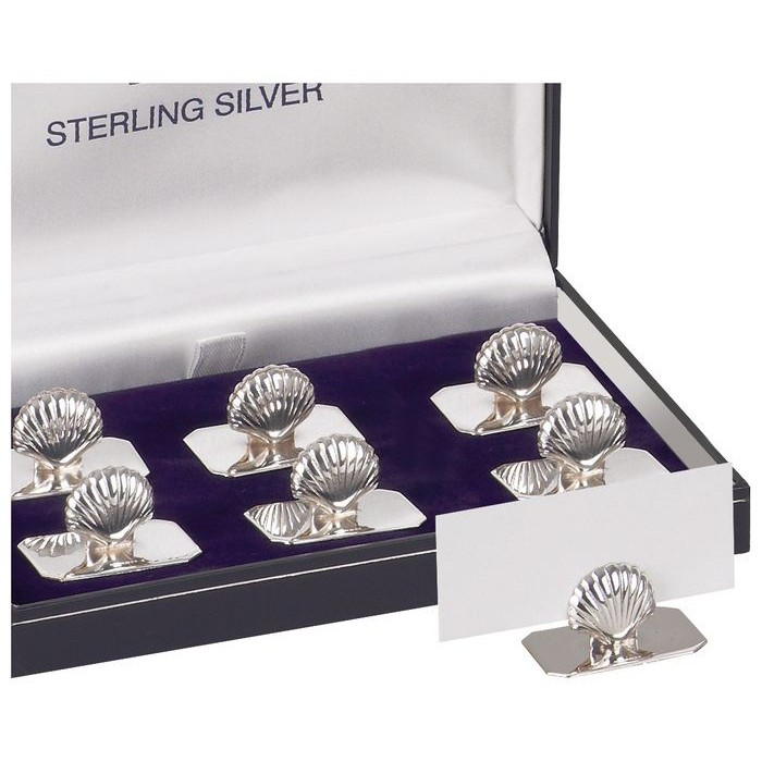 Sterling Silver Set Of Six Shell Name Card Holders