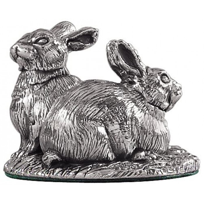 Sterling Silver Rabbits Statue