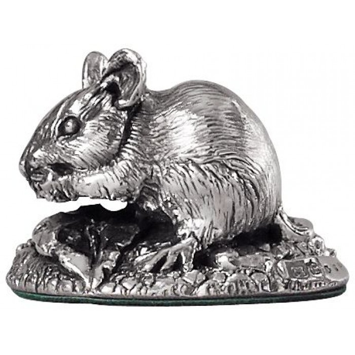 Sterling Silver Field Mouse Statue