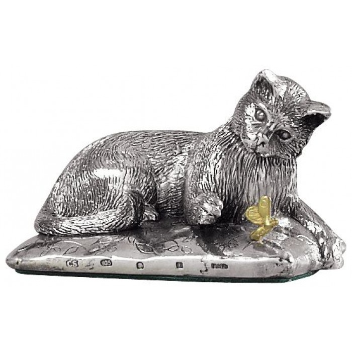 Sterling Silver Cat On Cushion Statue