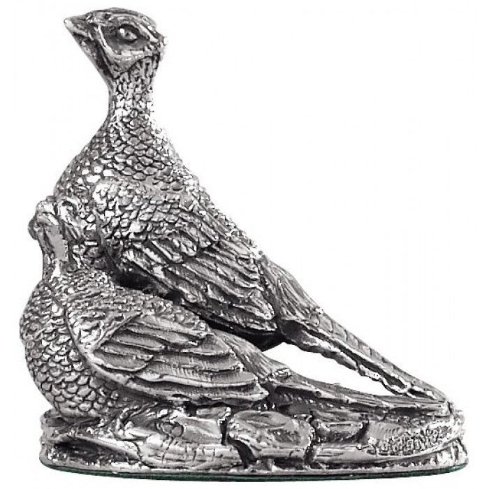 Sterling Silver Pheasants Statue