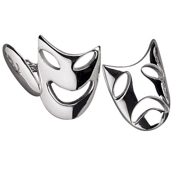 Sterling Silver Comedy And Tragedy Post Cufflinks