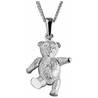 Sterling Silver Movable Teddy Necklace