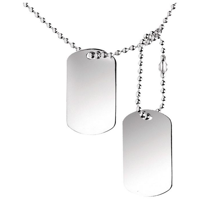 Sterling Silver Double Dog Tags On 50Cm Chain