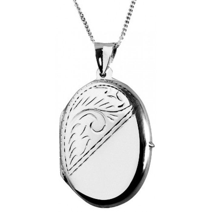 Sterling Silver Double Photo Locket On 40Cm Chain