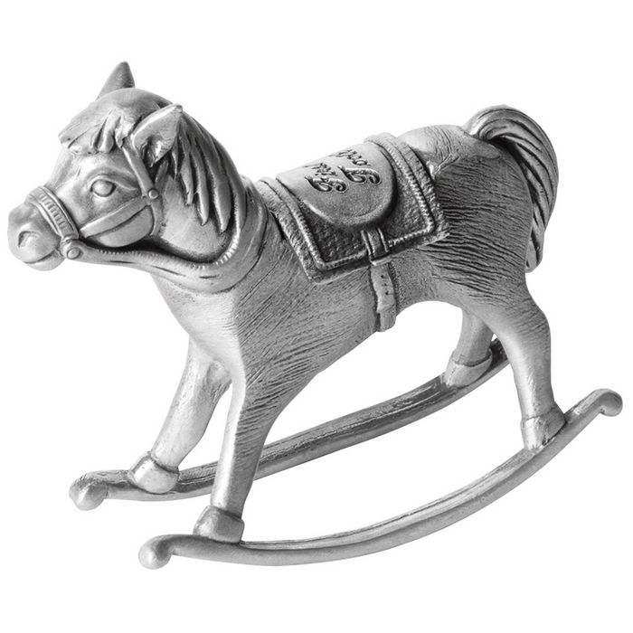 Pewter Rocking Horse First Tooth Box