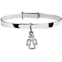 Sterling Silver Child Guardian Angel Bangle Size