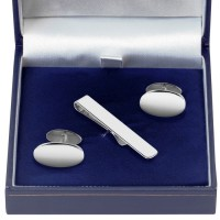 Sterling Silver Cufflinks And Tie Bar Set